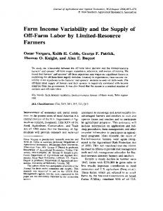 Farm Income Variability and the Supply of - AgEcon Search