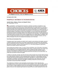 farm policy and obesity in the united states - Choices Magazine