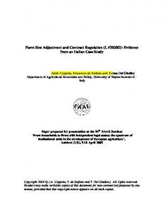 Farm Size Adjustment and Contract Regulation - AgEcon Search