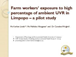Farm workers' exposure to high percentage of ...