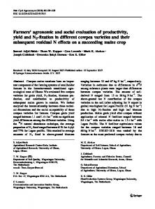 Farmers' agronomic and social evaluation of ... - Springer Link