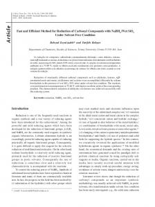 Fast and efficient method for reduction of carbonyl compounds with ...