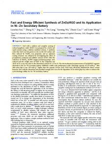 Fast and Energy Efficient Synthesis of ZnO@RGO ... - ACS Publications