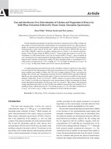 Fast and Interference Free Determination of Calcium and Magnesium