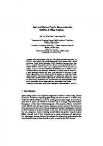 Fast and Robust Sprite Generation for MPEG-4 ... - Semantic Scholar