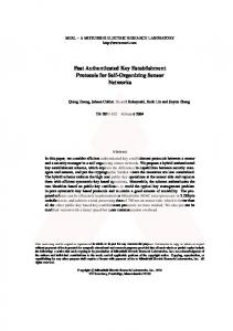 Fast Authenticated Key Establishment Protocols for ... - Semantic Scholar