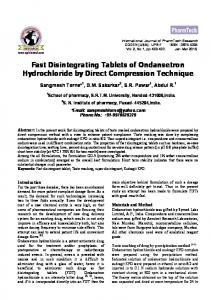 Fast Disintegrating Tablets of Ondansetron Hydrochloride by Direct ...