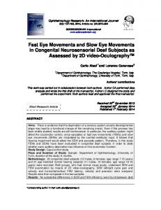 Fast Eye Movements and Slow Eye Movements in Congenital ...