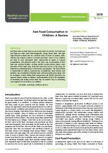 Fast Food Consumption in Children