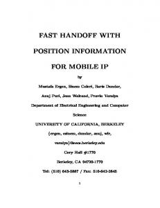 fast handoff with position information for mobile ip - Semantic Scholar