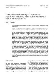 Fast repetition rate fluorometry - Boreal Environment Research
