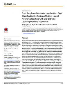 Fast, Simple and Accurate Handwritten Digit Classification by ... - PLOS