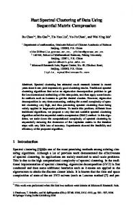 Fast Spectral Clustering of Data Using Sequential Matrix ... - Microsoft