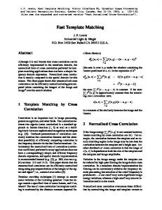 Fast Template Matching - JP Lewis