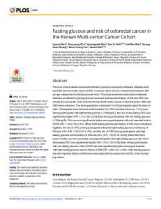 Fasting glucose and risk of colorectal cancer in the