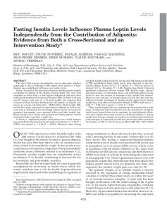 Fasting Insulin Levels Influence Plasma Leptin Levels Independently ...
