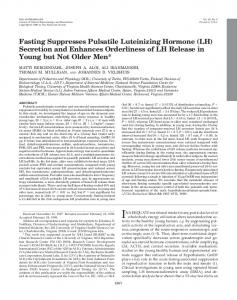 Fasting Suppresses Pulsatile Luteinizing Hormone (LH) Secretion and ...