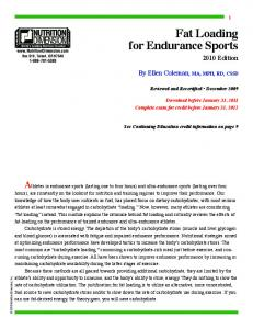 Fat Loading for Endurance Sports