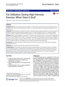 Fat Utilization During High-Intensity Exercise: When Does It End ...
