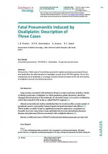 Fatal Pneumonitis Induced by Oxaliplatin - Karger Publishers