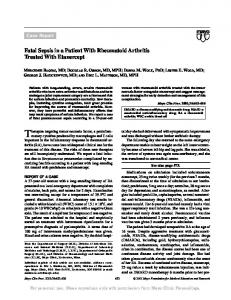 Fatal Sepsis in a Patient With Rheumatoid Arthritis Treated With ...