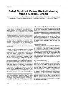 Fatal Spotted Fever Rickettsiosis, Minas Gerais, Brazil
