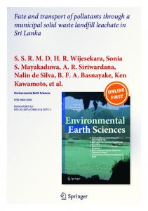 Fate and transport of pollutants through a municipal