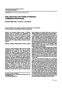 Fate, Occurrence, and Toxicity of Veterinary Antibiotics ... - Springer Link
