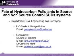 Fate of Hydrocarbon Pollutants in Source and Non Source ... - SUDSnet
