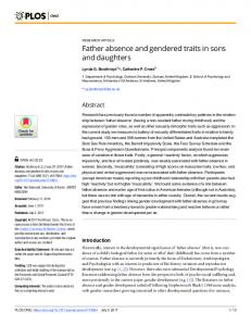 Father absence and gendered traits in sons and daughters - PLOS