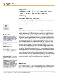 Fathering style influences health outcome in common marmoset - PLOS