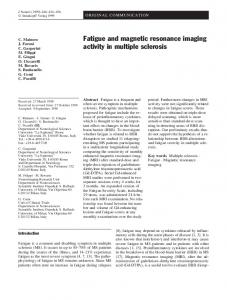 Fatigue and magnetic resonance imaging activity in multiple sclerosis