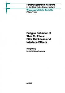 Fatigue Behavior of Thin Cu Films: Film Thickness ...