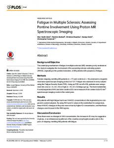 Fatigue in Multiple Sclerosis: Assessing Pontine