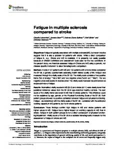 Fatigue in multiple sclerosis compared to stroke - CiteSeerX
