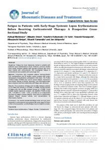 Fatigue in Patients with Early-Stage Systemic Lupus Erythematosus ...