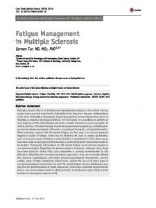 Fatigue Management in Multiple Sclerosis - UCL Discovery