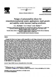 Fatigue of Polycrystalline Silicon for Microelectromechanical Systems