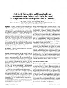 Fatty Acid Composition and Contents of trans Monounsaturated Fatty ...