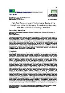 Fatty Acid Composition and Technological Quality of the Lipids ... - aidic