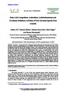 Fatty Acid Composition, Antioxidant, Anticholinesterase - Records of ...