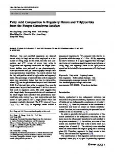 Fatty Acid Composition in Ergosteryl Esters and Triglycerides from the ...
