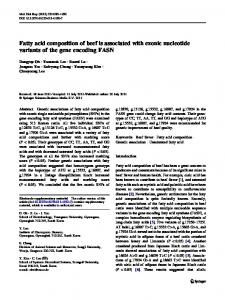 Fatty acid composition of beef is associated with exonic nucleotide ...