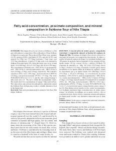Fatty acid concentration, proximate composition, and
