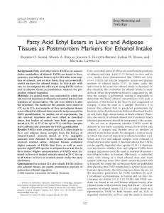 Fatty Acid Ethyl Esters in Liver and Adipose Tissues as Postmortem ...