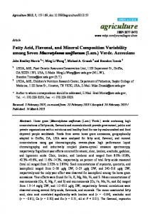 Fatty Acid, Flavonol, and Mineral Composition Variability ... - MDPI