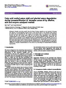 Fatty acid methyl esters yield and phorbol esters degradation during ...