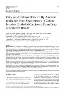 Fatty Acid Patterns Detected By Ambient Ionization Mass Spectrometry