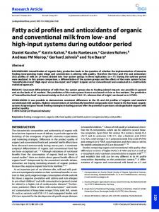 Fatty acid profiles and antioxidants of organic ... - Wiley Online Library