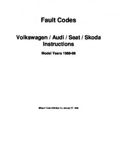 Diagnostic Trouble Codes Fault locations and probable